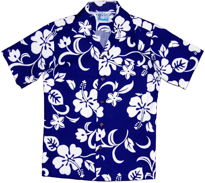 RJC Boy's Classic Hibiscus Hawaiian Shirt Royal Blue 12