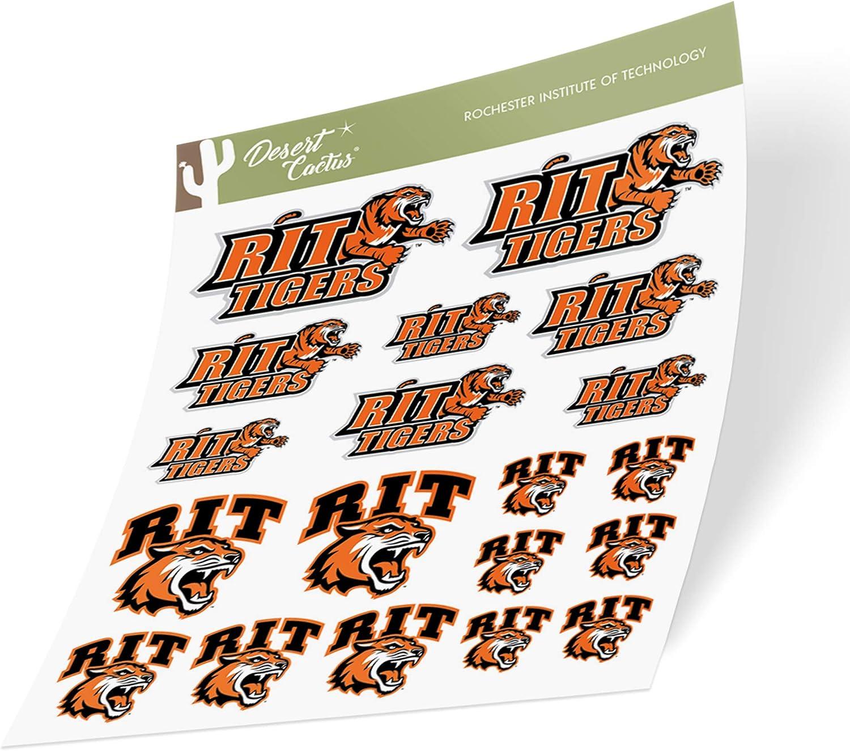 Rochester Institute of Technology RIT Tigers NCAA Sticker Vinyl Decal Laptop Water Bottle Car Scrapbook (Type 1-1 Sheet)