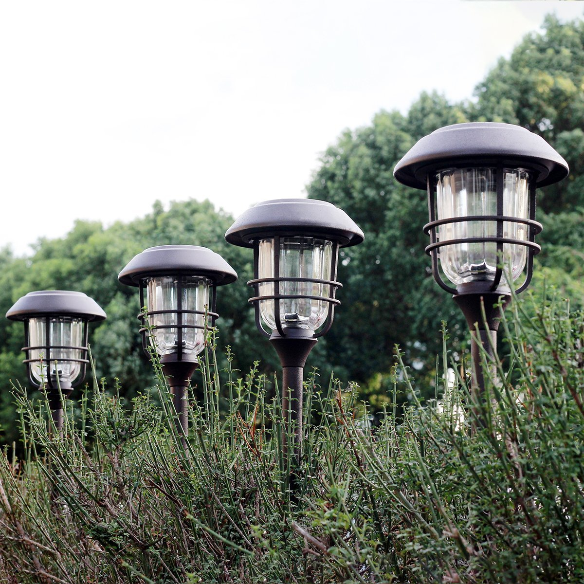 Gigalumi 4 Pack Outdoor Solar Lights Glass And Powder