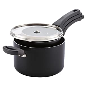 Farberware Neat Nest Space Saving 1, 2, and 4-Quart Saucepan Set with Lids, Black (6-Piece)