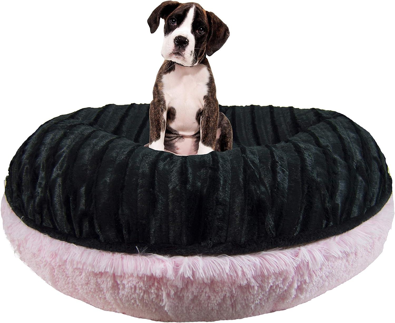 Bessie and Barnie Signature Black Puma Bubble Gum Luxury Shag Extra Plush Faux Fur Bagel Pet Dog Bed Multiple Sizes