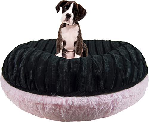 Bessie and Barnie Signature Black Puma Bubble Gum Luxury Shag Extra Plush Faux Fur Bagel Pet Dog Bed Multiple Sizes