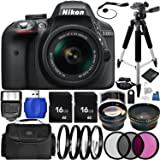 Nikon D3300 DSLR Camera (Black) Bundle with DX NIKKOR 18-55mm f/3.5-5.6G VR II Lens, Carrying Case and Accessory Kit (29 Items)