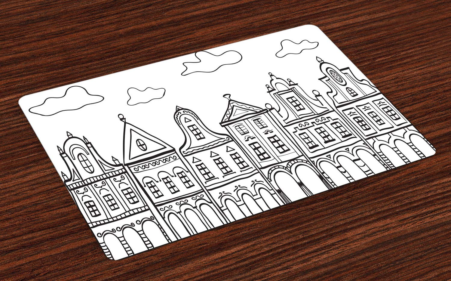 Ambesonne Amsterdam Place Mats Set of 4, Doodle Monochrome Illustration of Old Decorated Village Houses in Holland, Washable Fabric Placemats for Dining Room Kitchen Table Decoration, Black and White