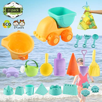21PCS Beach Sand Play Toys Set Bucket Rake Sand Wheel Watering Can Mold