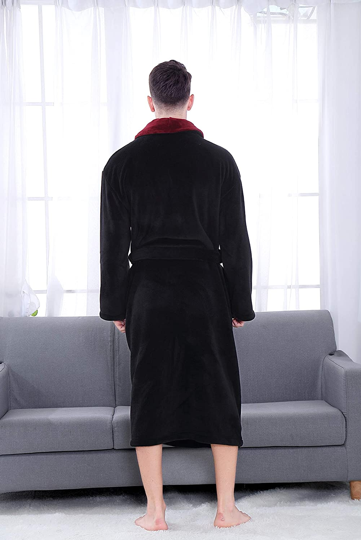 COSMOZ Premium Bathrobe for Men Soft Coral Fleece Dressing Gown