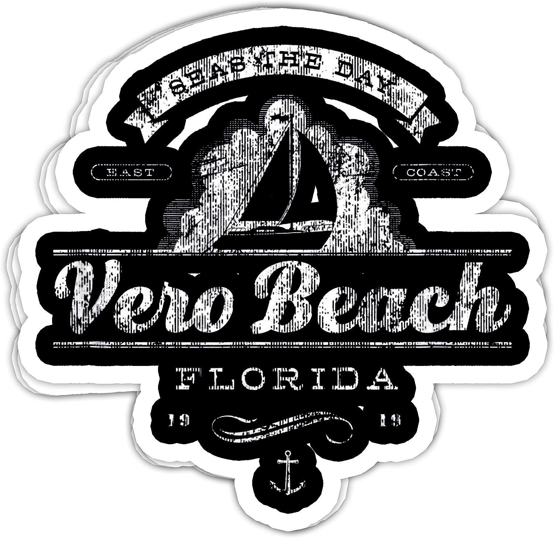macknessfr Vero Beach FL Sailboat Vintage Nautical - 4x3 Vinyl Stickers, Laptop Decal, Water Bottle Sticker (Set of 3)