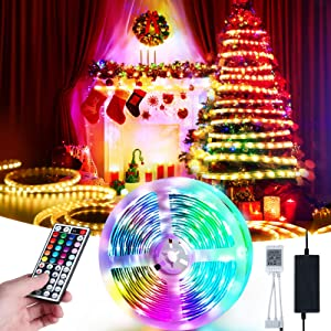 Led Strip Lights, HOKEKI Neon Lights, Led Lights for tv, Lights forbedroom, 16.4ft Smart Lamp, with Remote Control, 7 Lighting Effects, with Waterproof Design, Suitable ForTv, Party, Home Decoration