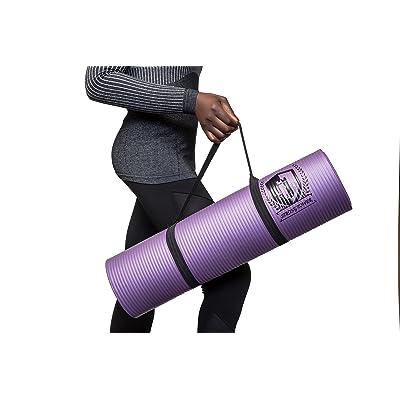 Tapis de yoga 10mm, épais tapis de yoga Tapis de yoga, sangle–étanche Tapis de yoga en caoutchouc naturel biodégradable par de fortes Tower–Respectueux de l'envir