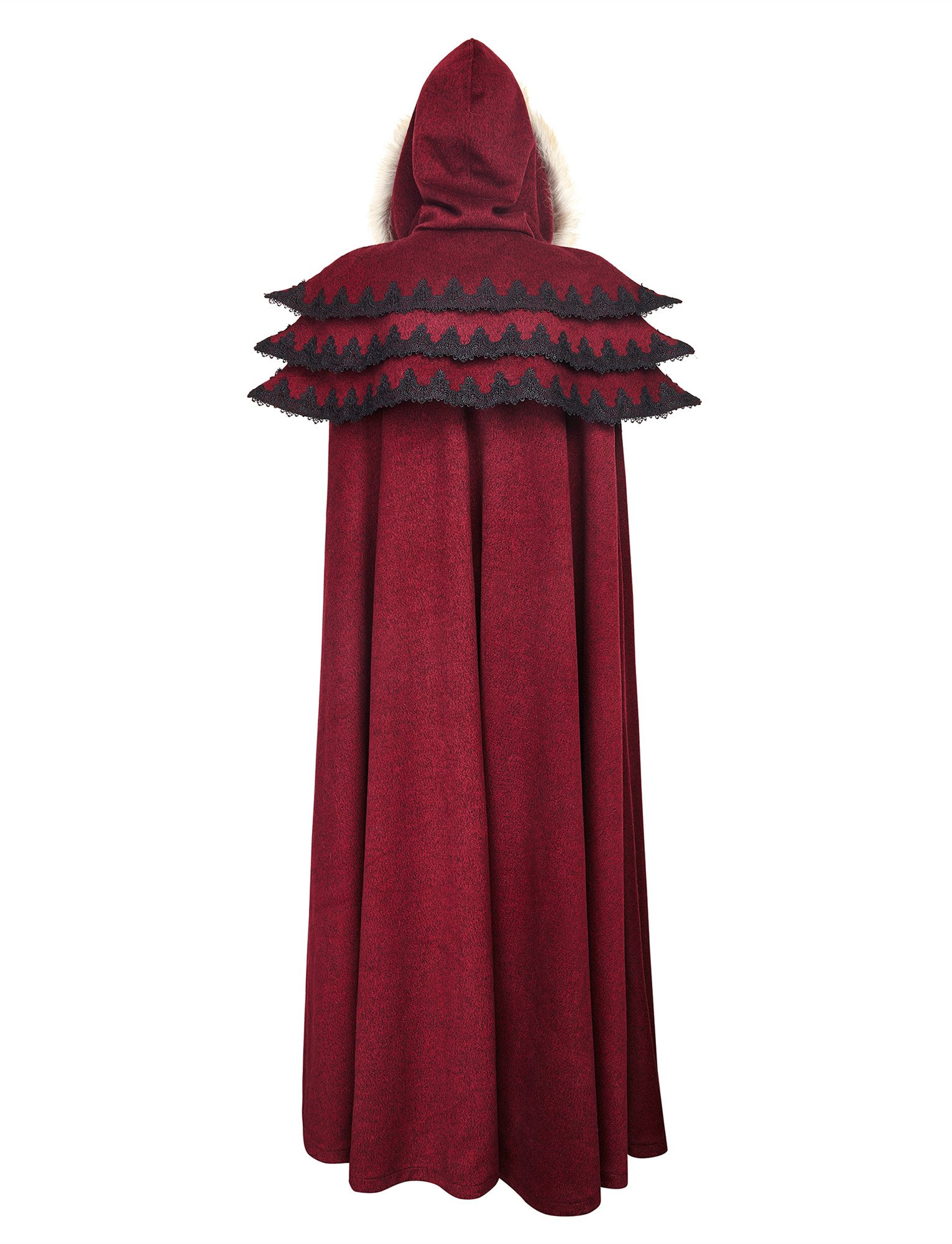 Punk Rave Women's Medieval Fluffy Faux Fur Trimmed Cape Full Length Hooded Cloak Coat(Red) by Punk Rave (Image #6)