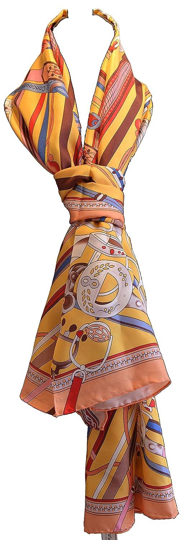 Écharpe 100% soie, bords laminés à la main, luxueux 12 poids momme, long 170x55cm