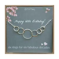 60th Birthday Gifts for Women, Sterling Silver Six Circle Necklace for Her, 6 Decade Jewelry 60 Years Old