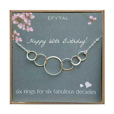 EFYTAL 60 regalos de cumpleaños collar de plata de seis ...