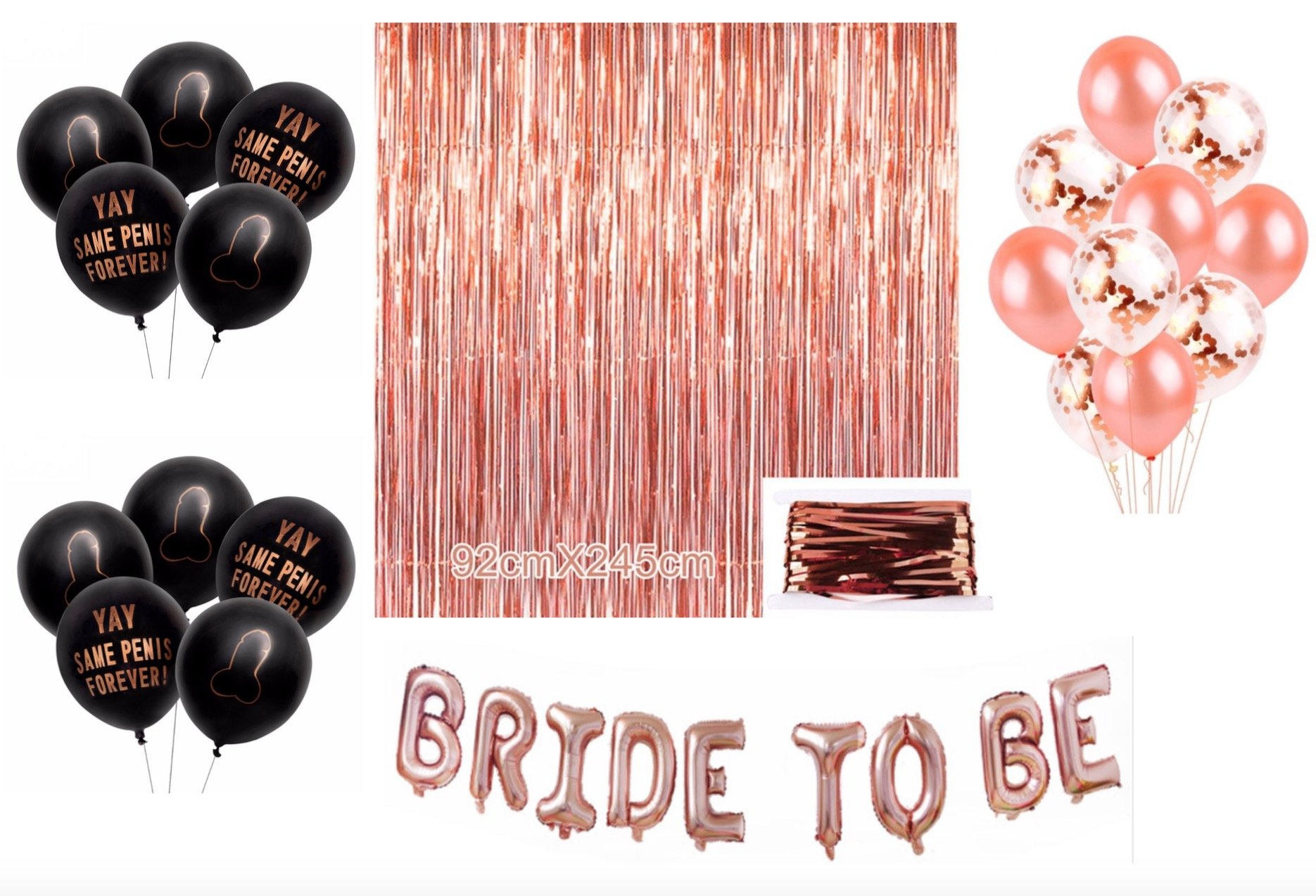Bachelorette Party Decorations and Supplies Kit Rose Gold – Set includes 1 Fringe Curtain, 10 White and Pink Confetti Balloons, 10 Same Penis Forever Black Balloons, Bride to Be Balloon Banner 30 pcs
