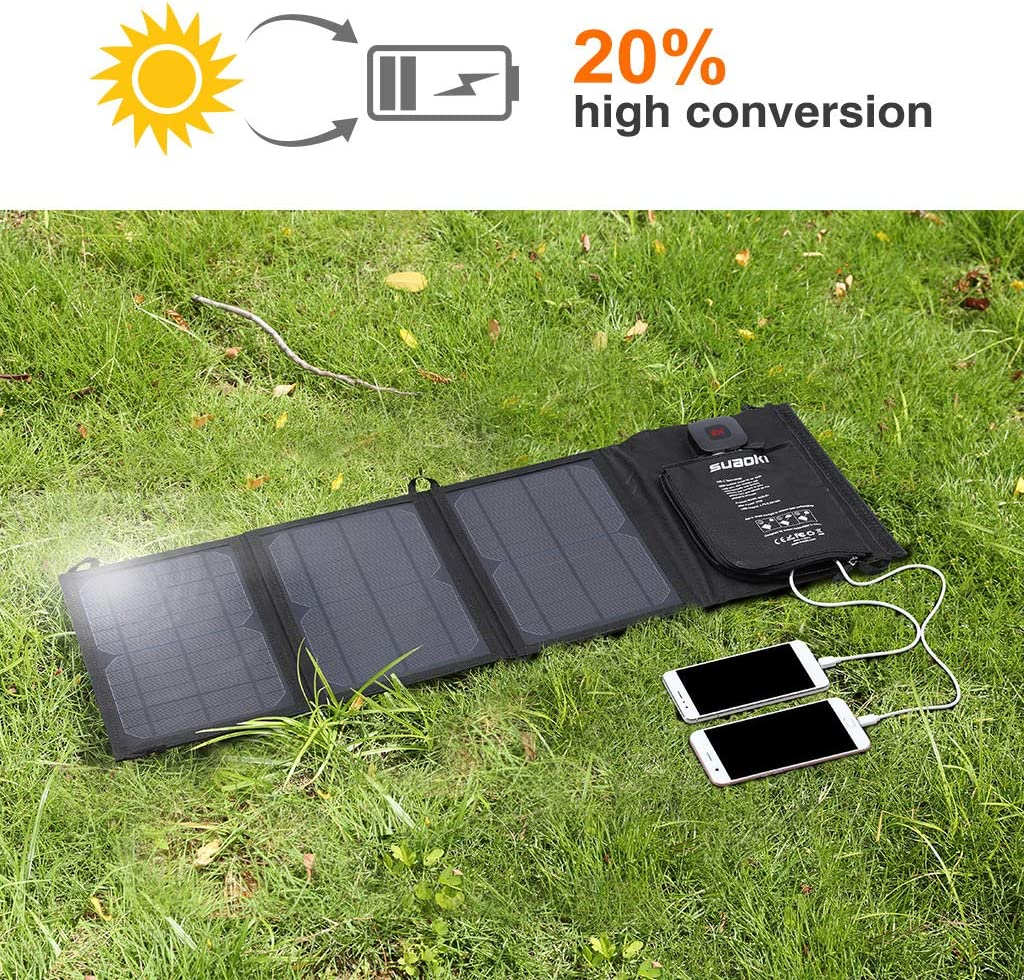 iPad SUAOKI Rete Bank Batteria Caricatore Solare a 2 Porte per Laptop iPhone e Altri dispositivi digitali