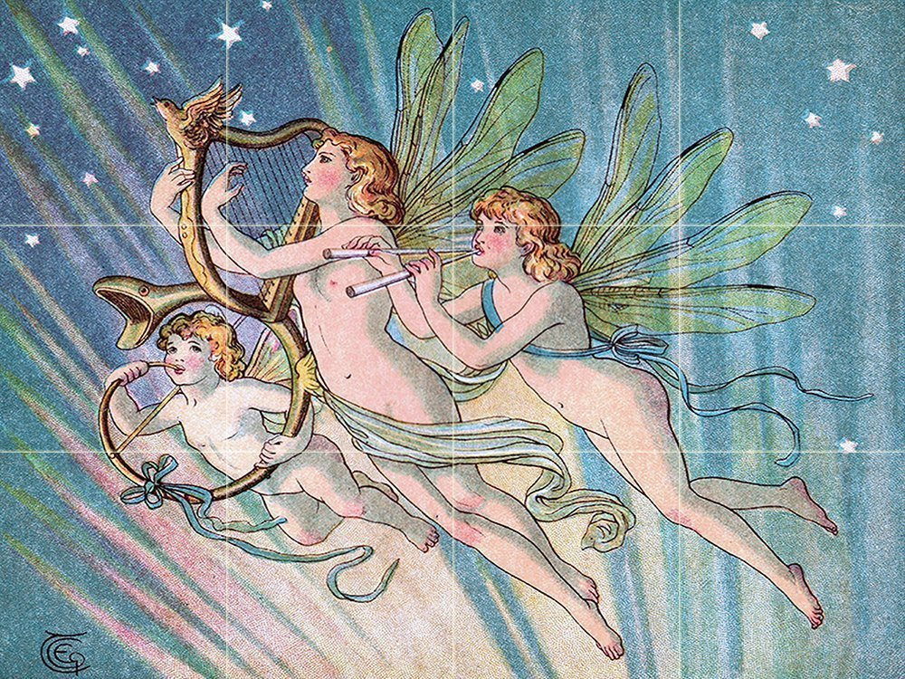 Emily's Fairies by E Gertrude Thomson Tile Mural Kitchen Bathroom Wall Backsplash Behind Stove Range Sink Splashback 4x3 6'' Ceramic, Matte