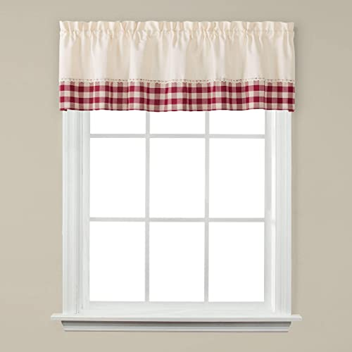 Duck River Textile Geo Geometric 3 Piece Kitchen Window Curtain Tier Valance Set, 2 Tiers 29 x 36 One Valance 58 x 15, Taupe,