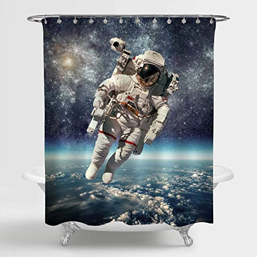 Outer Space Shower Curtain Ship Station Base Print for Bathroom