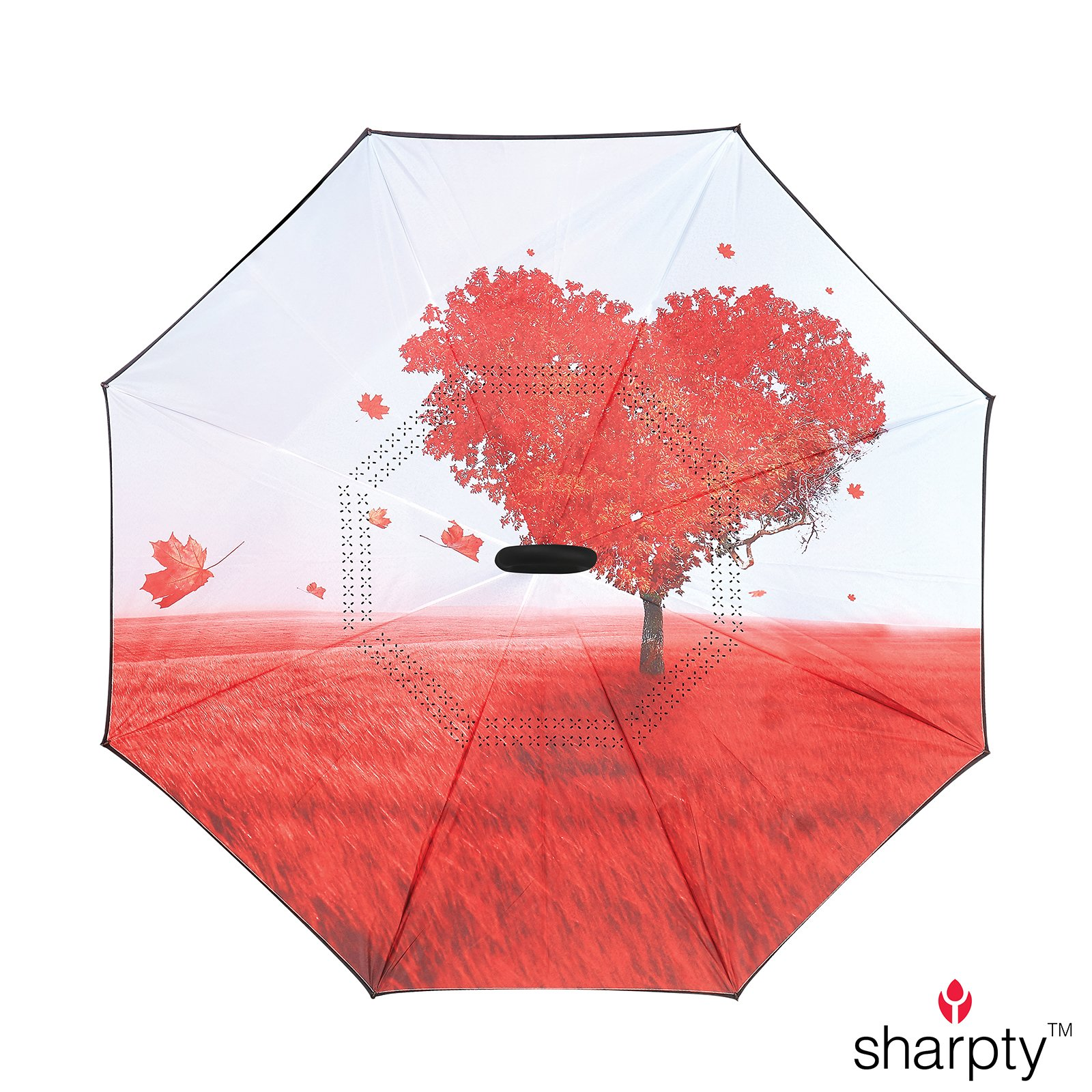 Sharpty Inverted Umbrella, Umbrella Windproof, Reverse Umbrella, Umbrellas for Women with UV Protection, Upside Down Umbrella With C-Shaped Handle (Love Tree) by Sharpty (Image #2)