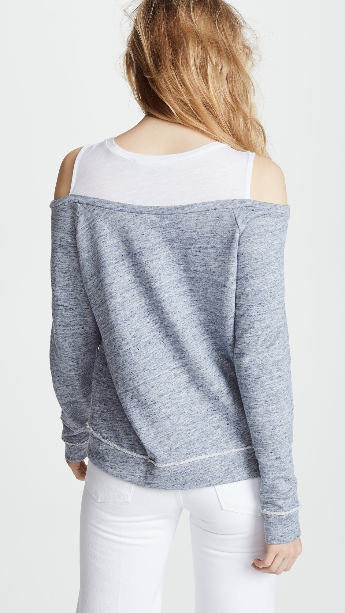 Generation Love Women's Roni Double Layered Sweatshirt, Heather Blue, Small by Generation Love (Image #3)