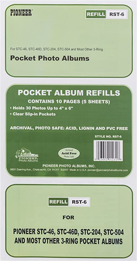 holds 4 x 7 Photos Pioneer Refill Pages for 3-Ring Photo Albums Pack of 5 Pages.