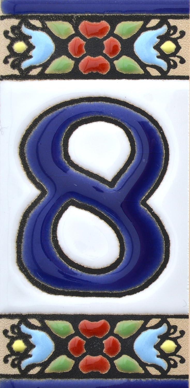 Handgemalte Kordeltechnik fuer Schilder mit Namen Schilder mit Zahlen und Nummern auf Keramikkachel Design FLORES MINI 7,3 cm x 3,5 cm Nummer SECHS6 Hausnummer Adressen und Wegweisern