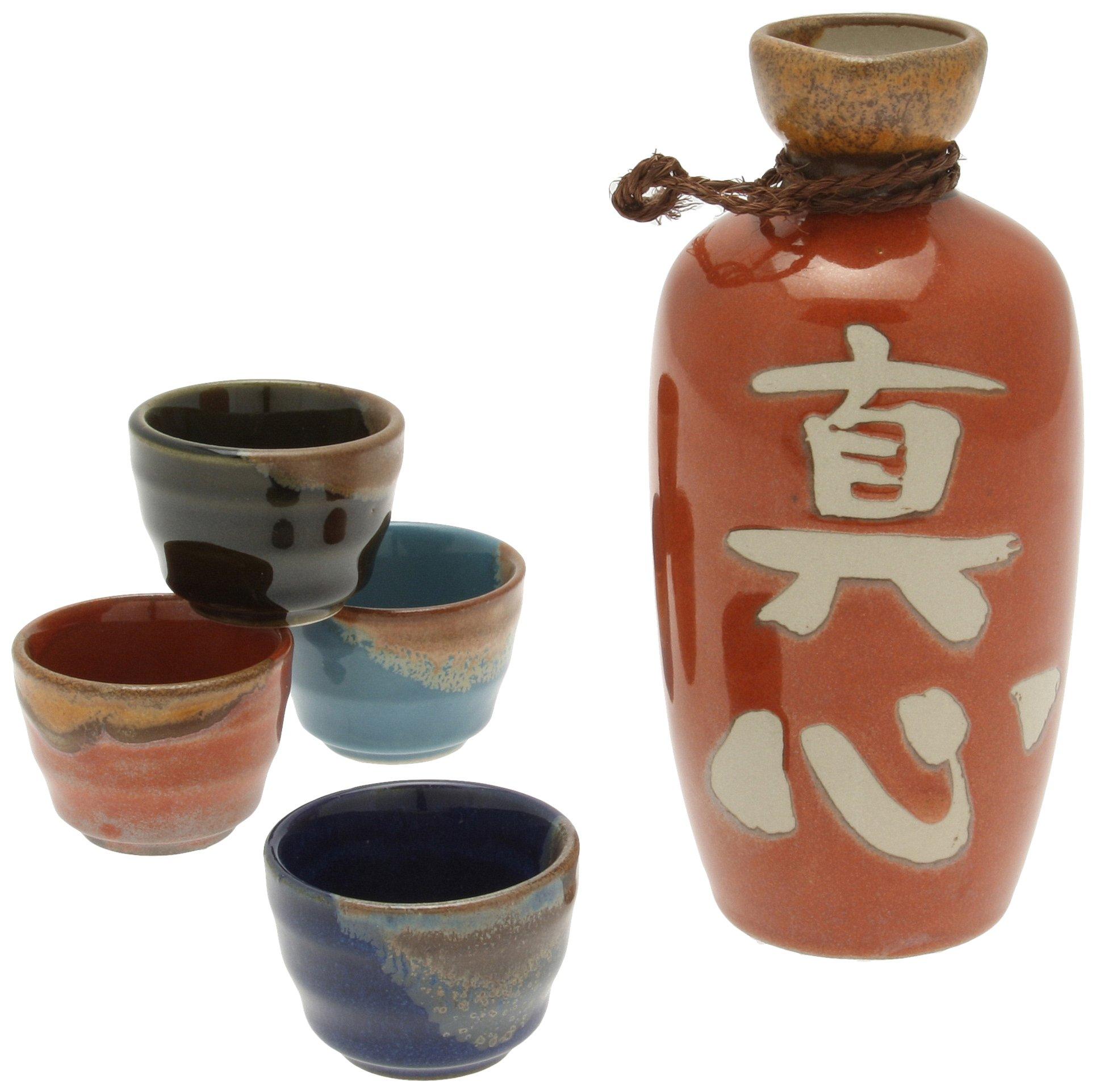 Kotobuki Magokoro Japanese Calligraphy Sake Set, ''True Spirit'', Red