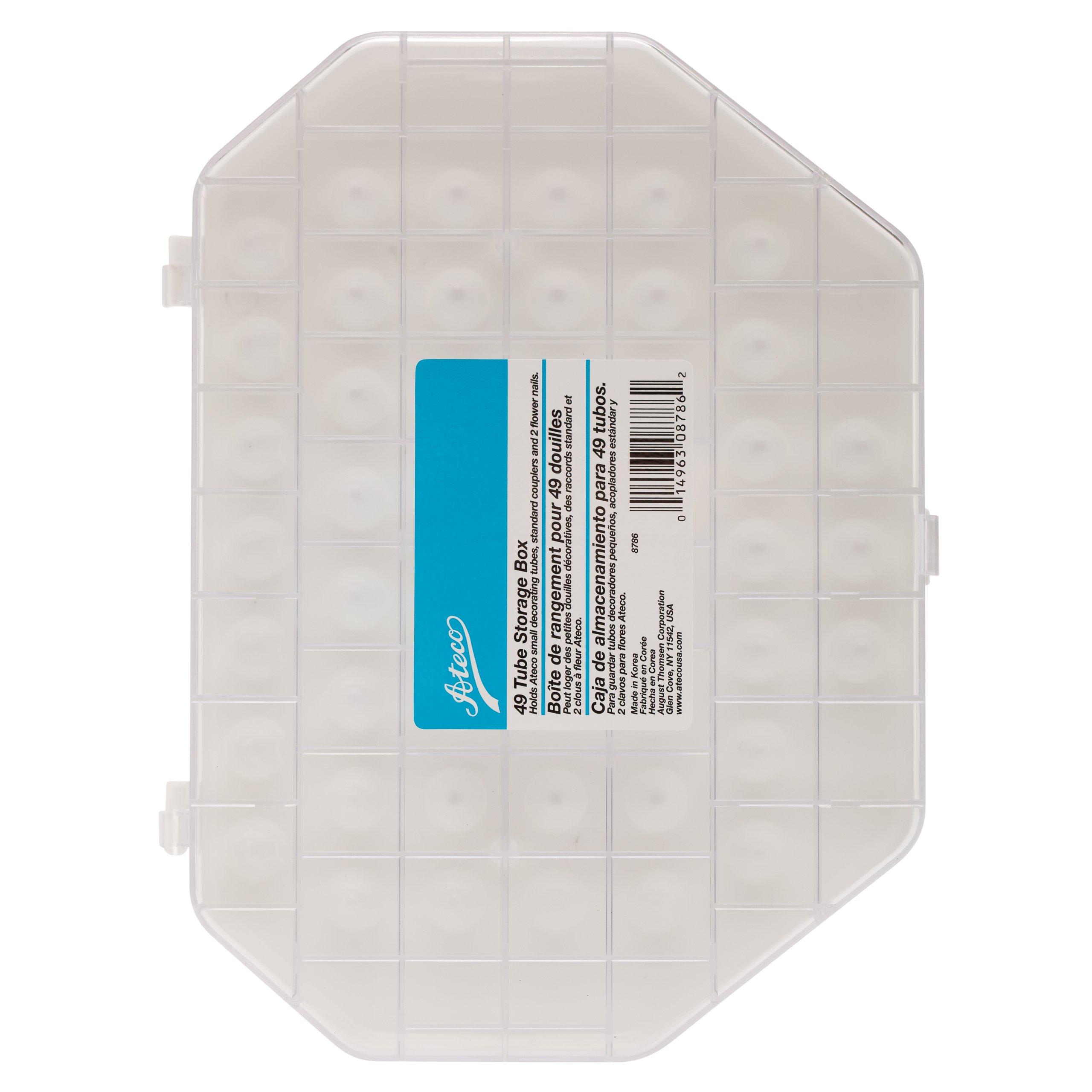 Ateco 8786 Tube Storage Box, 49-Compartments for Small & Medium Decorating Tubes