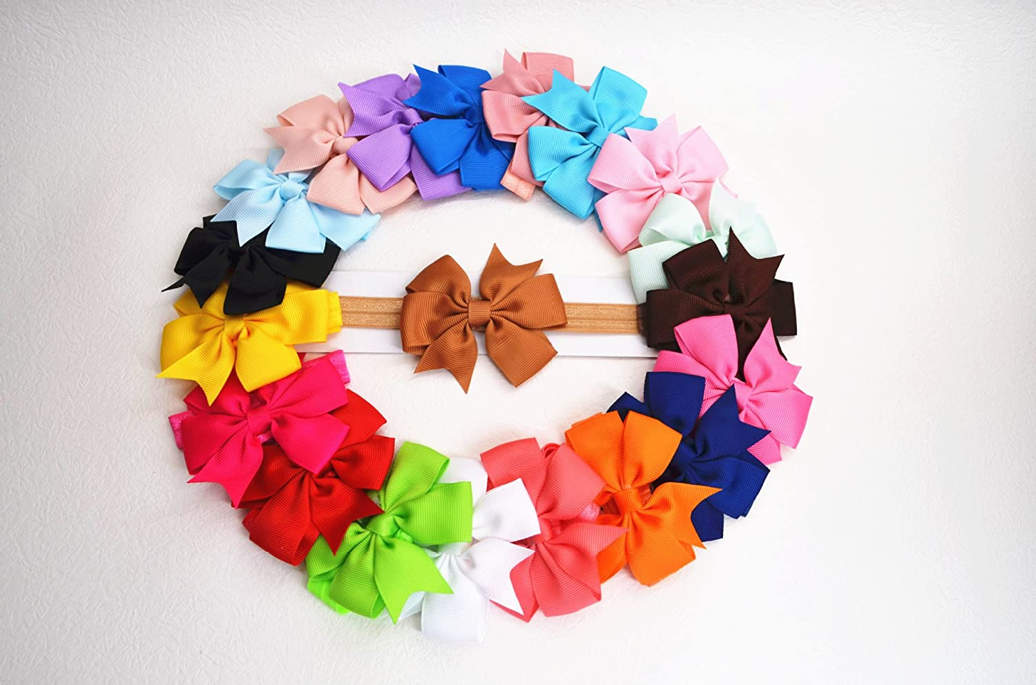 20PCS Baby Baptism Headbands for anywhere and Fashion.Newborn Christening Hair Bows with many colors OPUSS