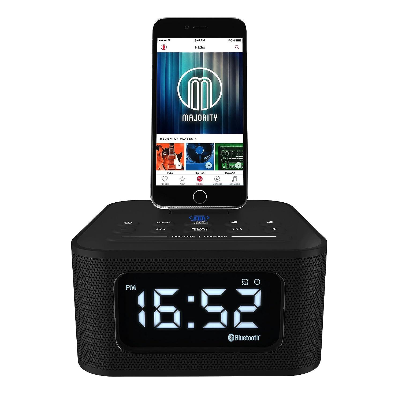 Neptune Speaker Docking Station Bluetooth Alarm Clock FM Radio Lightning  Dock for iPhone 5 5S 5C 6 6+ 6S 7 7+ iPad Air Mini iPod (Black):  Amazon.co.uk: ...