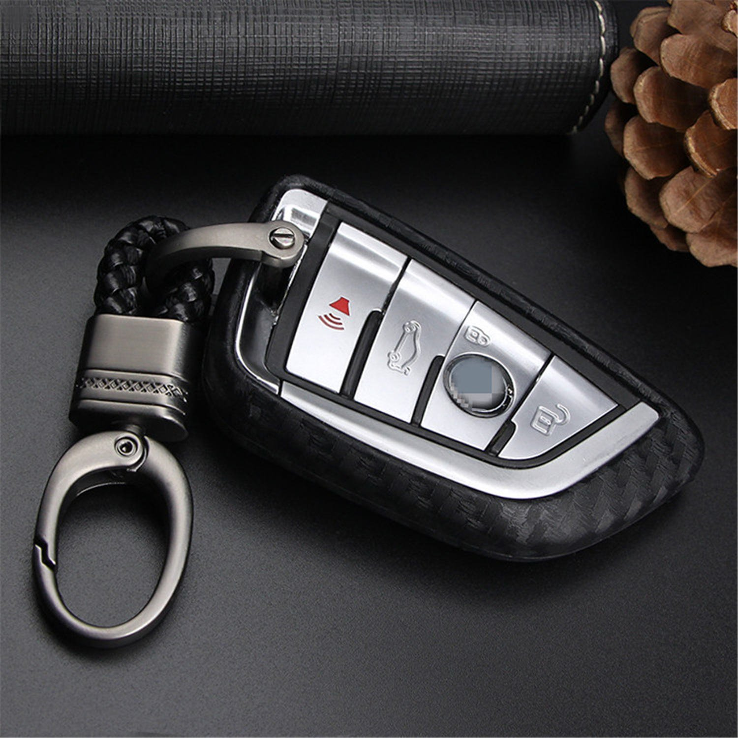 Round Keychain Car Keyless Entry Remote Key Fob Case For BMW X1 X 5 X5M X6 X 6M 2 7 Series Fob Remote Key M.JVisun Soft Silicone Rubber Carbon Fiber Texture Cover Protector For BMW Key Fob Black