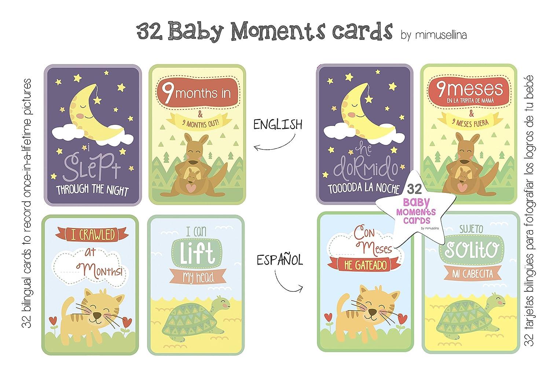 BabyMoments Cards by Mimuselina (Bilingüe: Español-English) Regalo recien nacido.Tarjeta logros e hitos del bebé