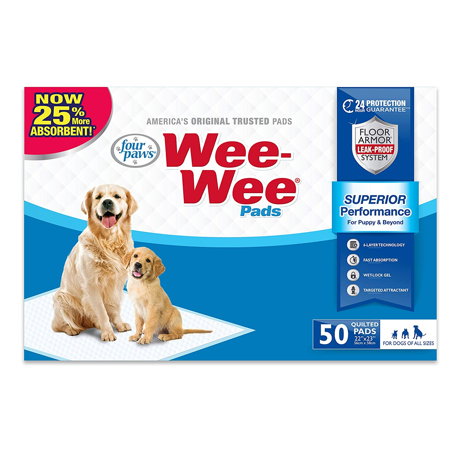 Four Paws Wee-Wee Absorbent Pads for Dogs, 50 Count