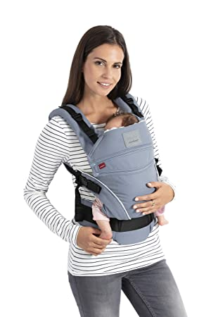 manduca XT Baby Carrier > Bellybutton SoftCheck blue < Mochila Portabebe, Asiento Ajustable, 3 Posiciones, Algodon Organico, no se Necesitan ...