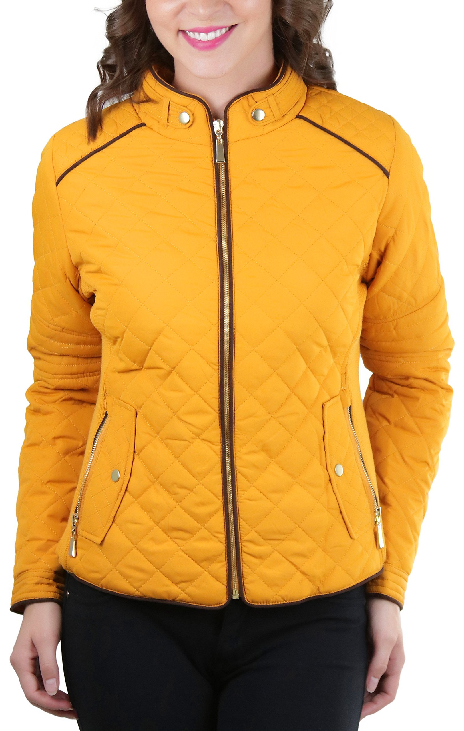 ToBeInStyle Women's Quilted Padded Jacket Suede Piping - Dark Mustard - Medium