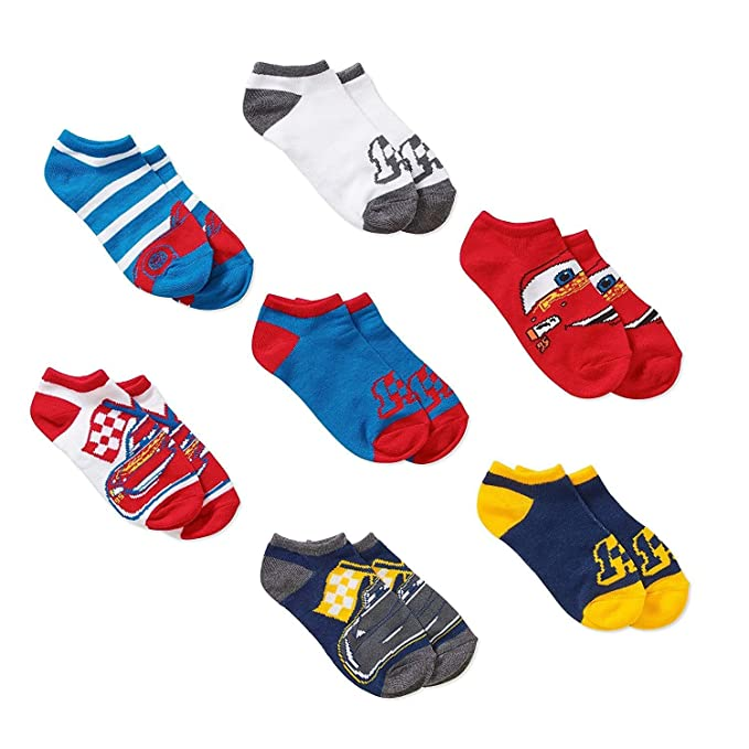 Disney Cars Boys No show Socks 7 pairs McQueen Small 4-7 1/2