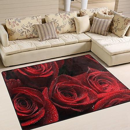 JSTEL INGBAGS Super Soft Modern Valentineu0027s Day Red Rose Area Rugs Living  Room Carpet Bedroom Rug