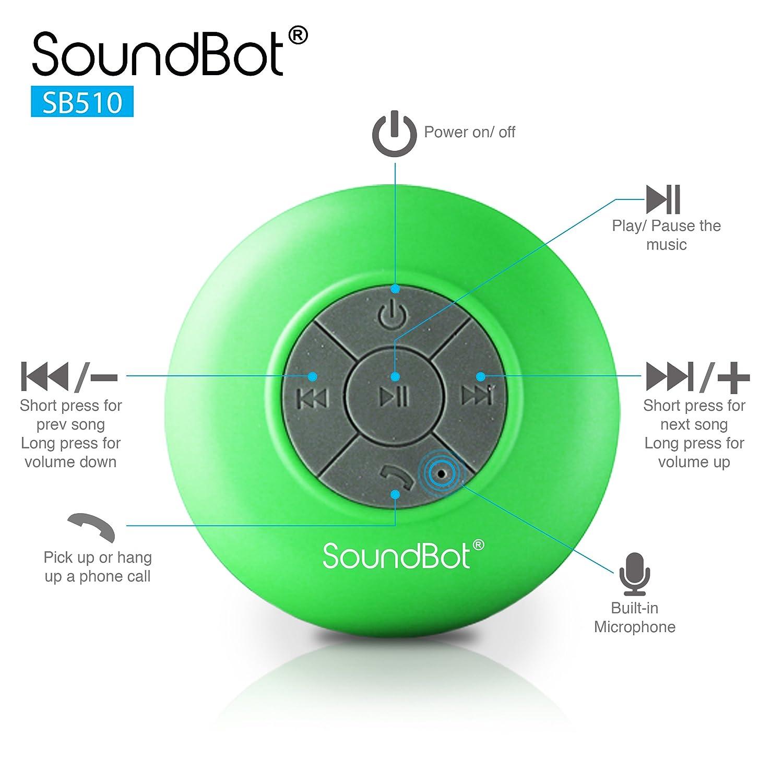 Soundbot Bluetooth Speaker Wiring Diagram Shower Water Resistant Wireless Hands Free Portable Speakerphone Of Playtime Built In Mic