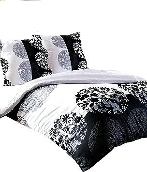 Leonado Vicenti Bettwäsche 200x220 Baumwolle 3 Teilig Weiß Schwarz