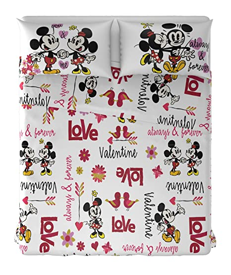 Lenzuola Matrimoniali Con Topolino E Minnie.Mickey Minnie T F Parure Lenzuola Matrimoniale 100 Cotone