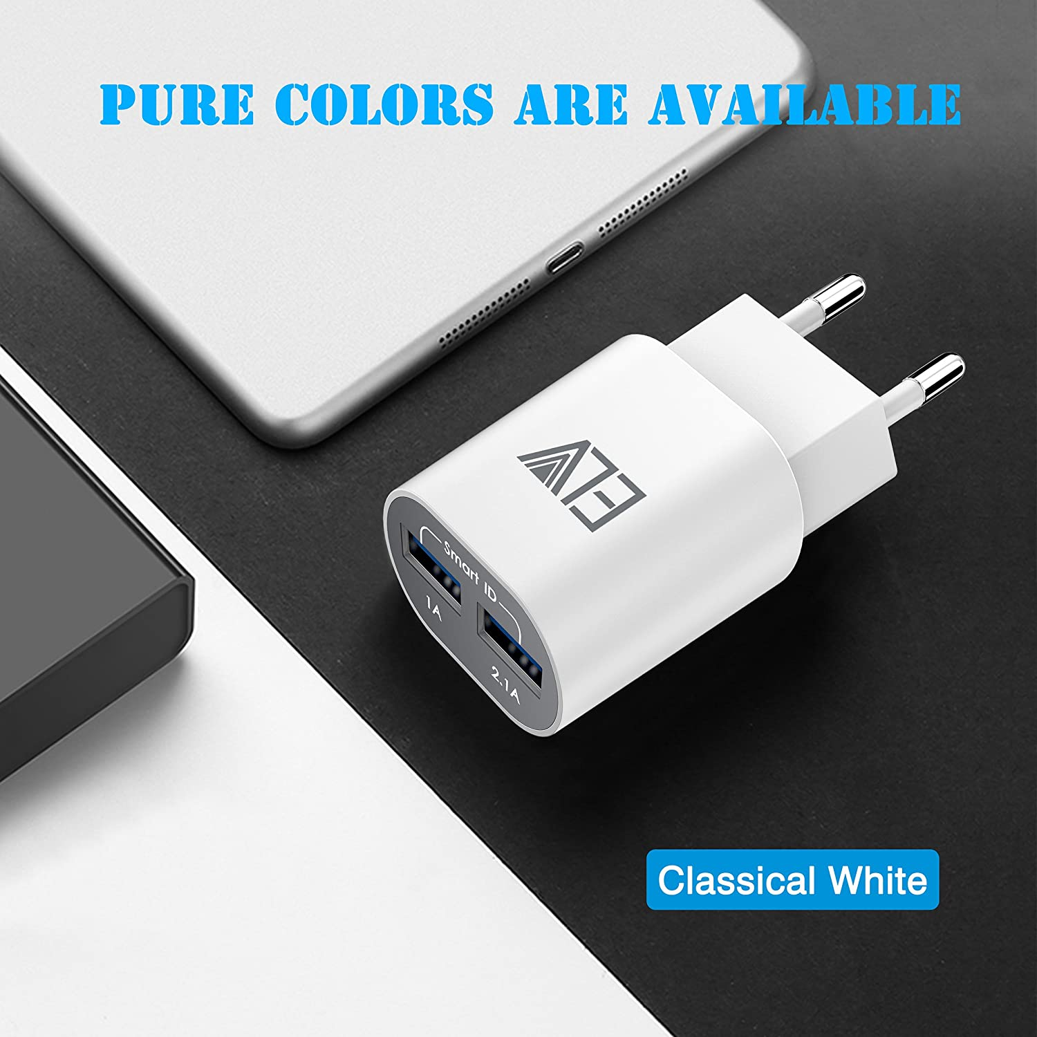 Elv 2 Port Auto Detect Technology Usb Wall Travel Traveller Charger Delcell 21a Electronics