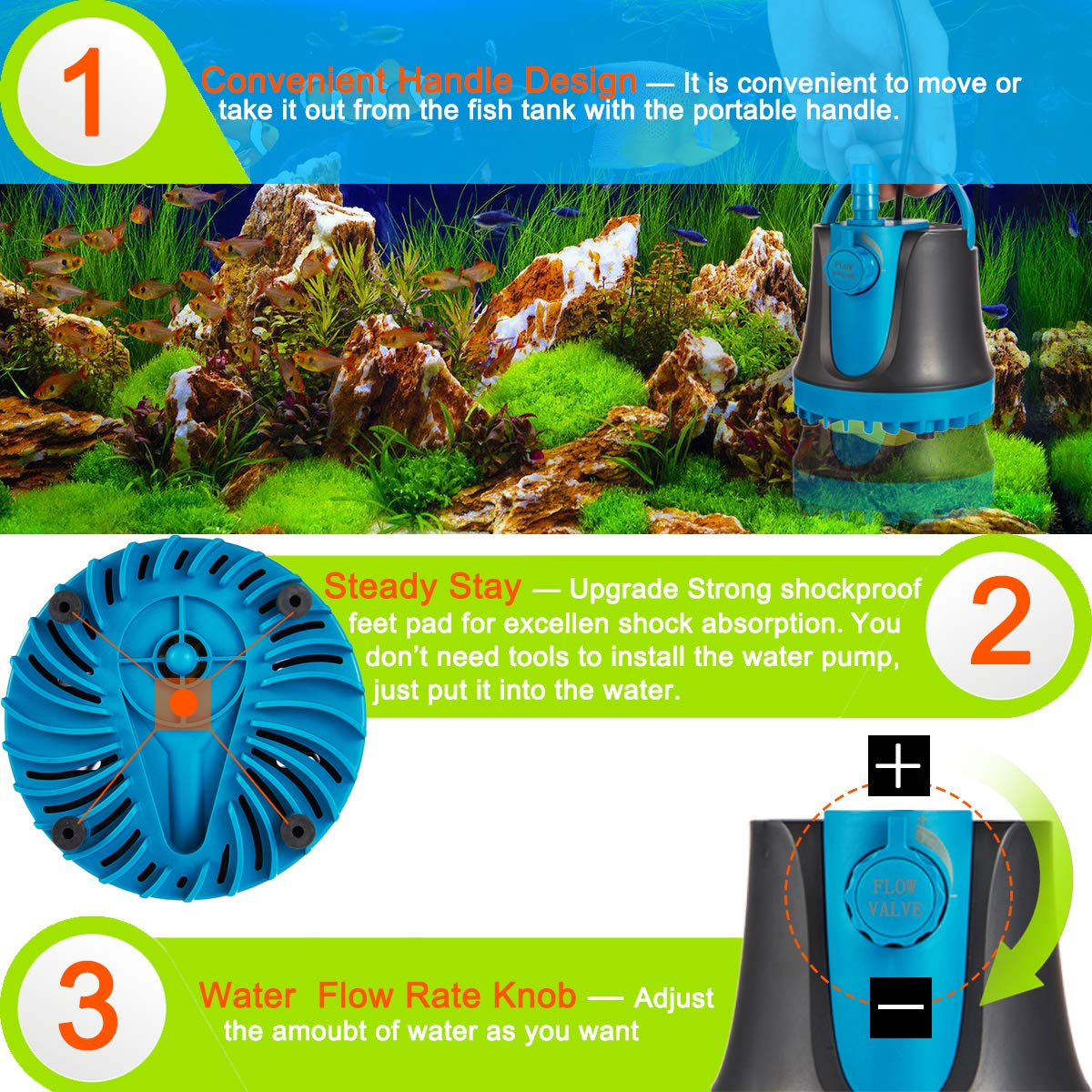 Adjustable Ultra Quiet Water Pump for Aquarium 1800L//H, 25W Fish Tank IDREAMO Submersible Water Pump Pond 475GPH Statuary Hydroponics with 2 Nozzles,5 Feet Power Cord
