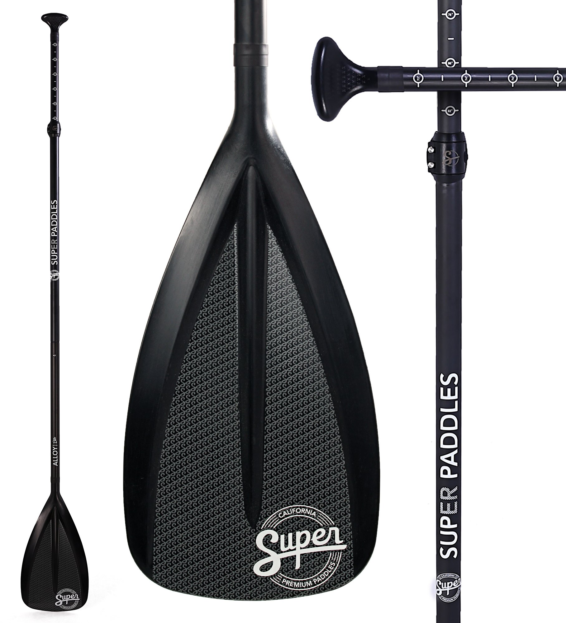 Alloy SUP Paddle - 3-Piece Adjustable Stand Up Paddle with Paddle Bag. Super Paddles - Alloy Series Elite - Aluminum Shaft, Nylon Blade by Super Paddles (Image #1)