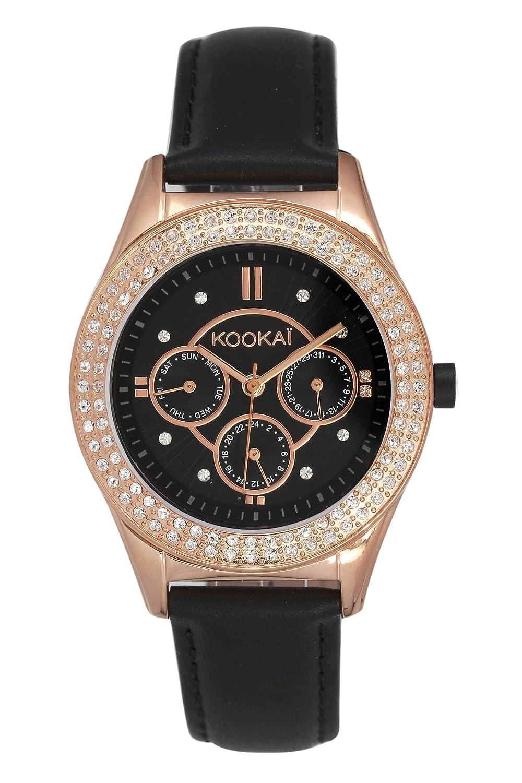 KookaÏ – KO 034S-2AA Damen-Armbanduhr – Quarz Analog – Zifferblatt schwarz Armband Leder schwarz