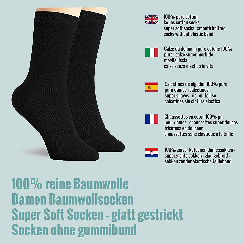 Calcetines - para mujer 100% algodón peinado - negro: Amazon.es: Ropa y accesorios