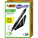 BIC Gel-ocity 按动中性笔,中尖(0.7 毫米),黑色,24 支
