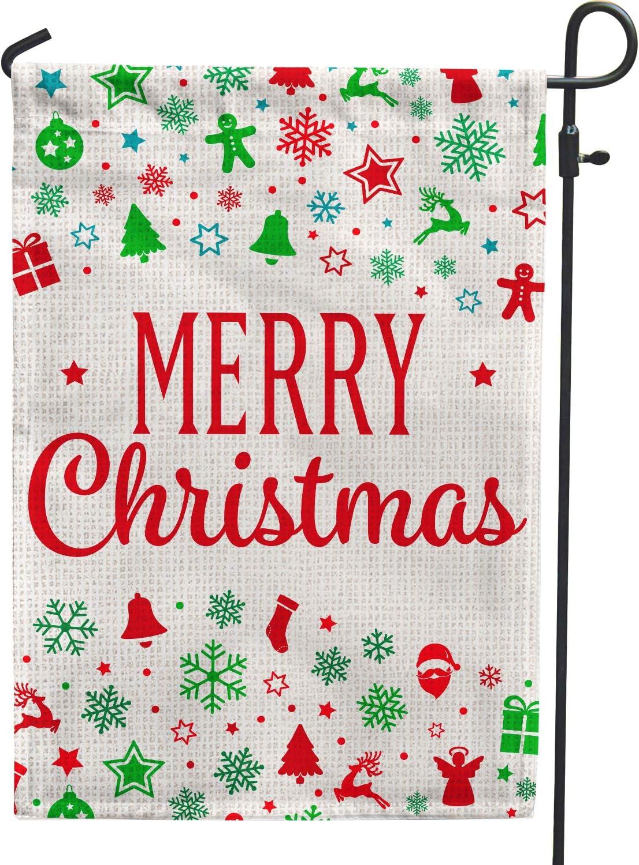 Hollyhorse Merry Christmas Garden Flag - Bells Snowflake Pine Tree Socks Snowman Happy Christmas Xmas Decoration Garden Flag | 12.5 x18 Inch Double Sided Burlap Flag for Outdoor Yard Outside Decor