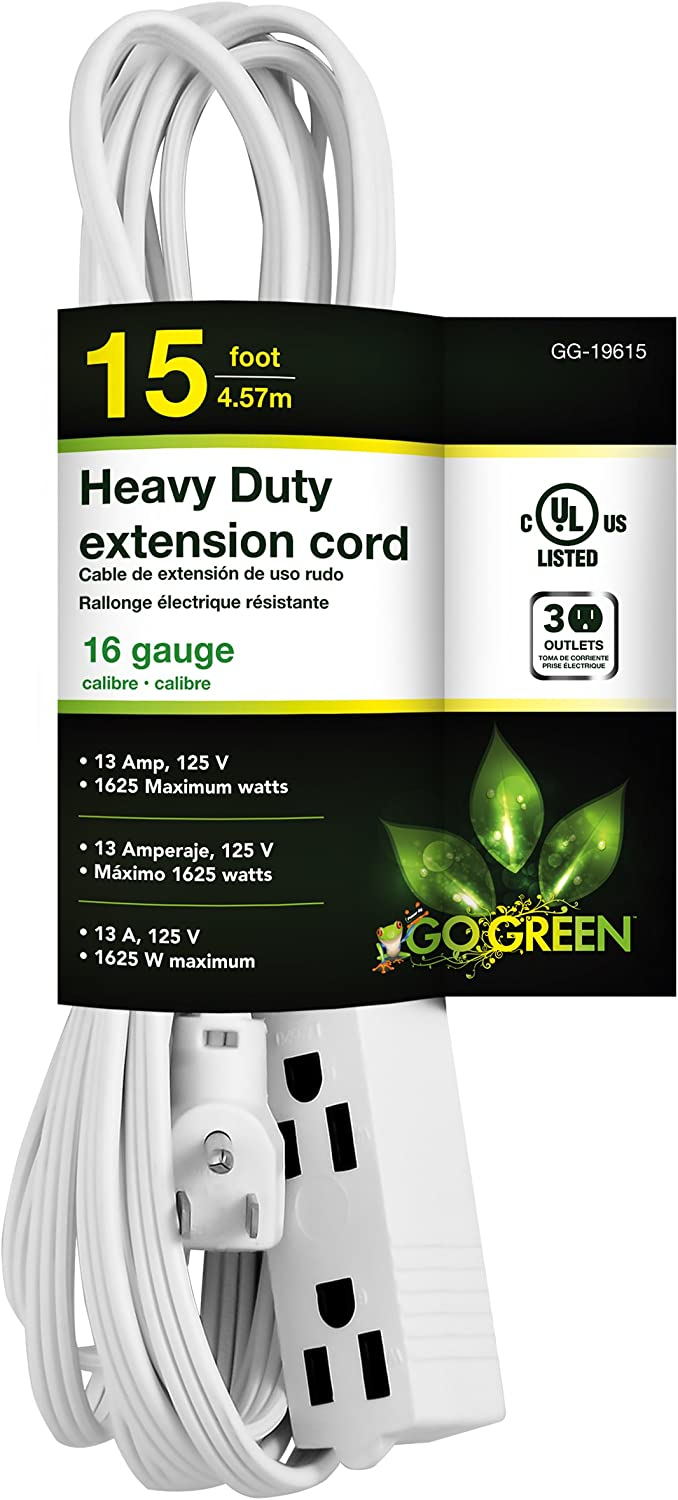 GoGreen Power GG-19615 16/3 15' 3-Outlet Extension Cord - White