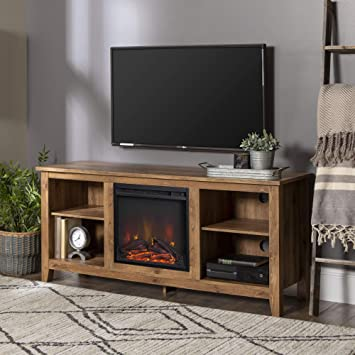 Amazon Com Walker Edison W58fp18bw Fireplace Tv Stand Barnwood 58