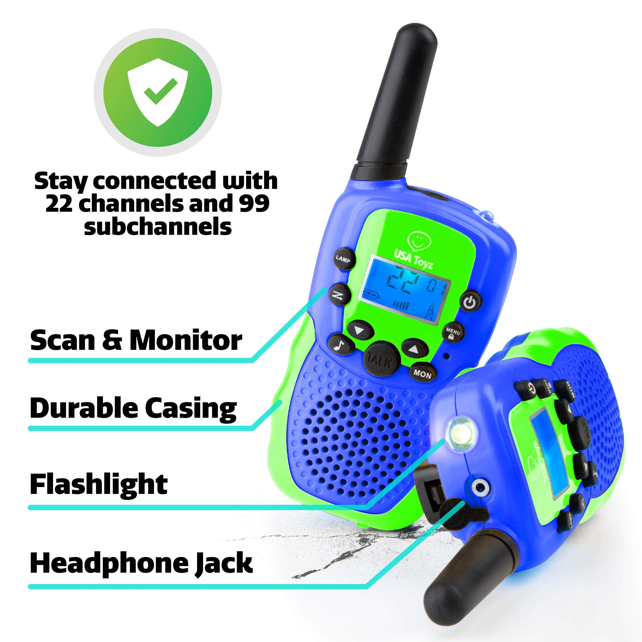 USA Toyz Walkie Talkies for Kids Vox Box Kids Walkie Talkies for Boys Or Girls, Voice Activated Long Range Outdoor Toys Walkie Talkie Set (Blue/Green) by USA Toyz (Image #5)